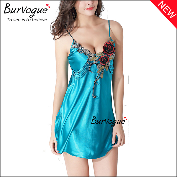 beautiful-rose-silk-badydolls-sleepwear-lingerie-with-straps-13177