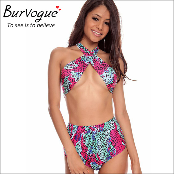 Cross front high waist bikini hot swimsuit wholesale-78015