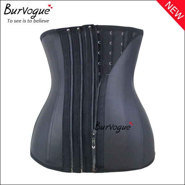 black-11-steel-boned-waist-training-corsets-with-3-zip-n-clips-21444