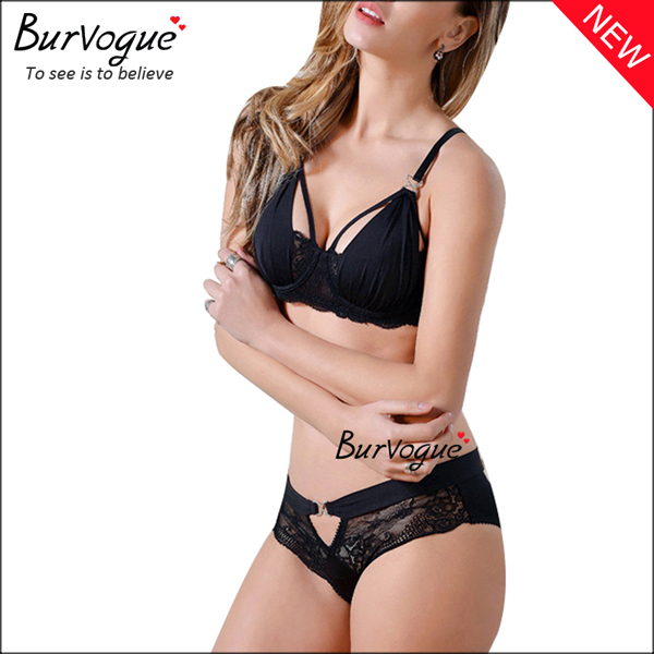 black-cheap-intimate-underwear-hollow-out-push-up-bra-sets-60091