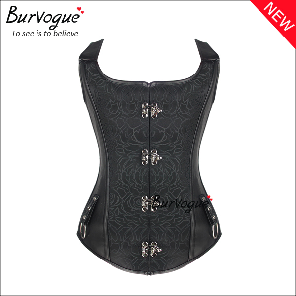Black Dobby 8 Steel Boned Leather Corset Tops With Straps