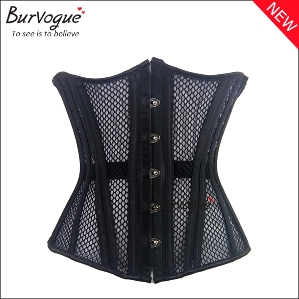 black-double-strong-steel-boned-corset-thin mesh-underbust-23076