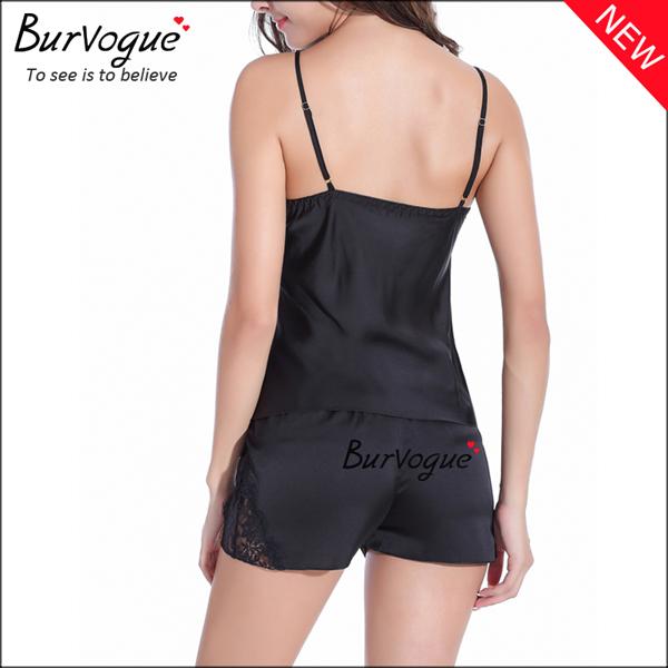 black-elegant-chiffon-babydolls-lace-robes-lingerie-wholesale-13166