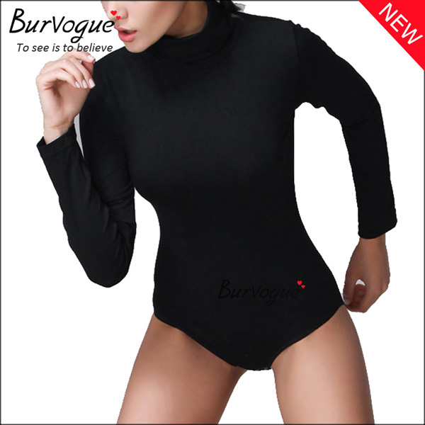 black-high-collar-bodysuits-long-sleeve-body-shaper-wholesale-16081