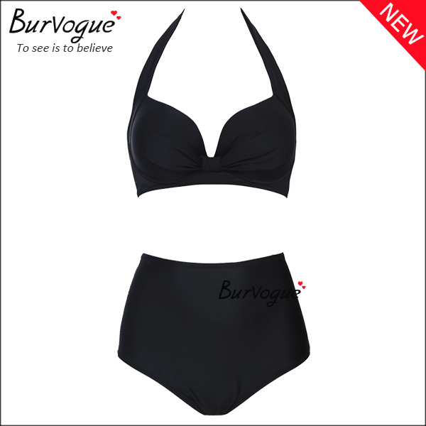black-ladies-halter-push-up-bikini-wholesale-70094