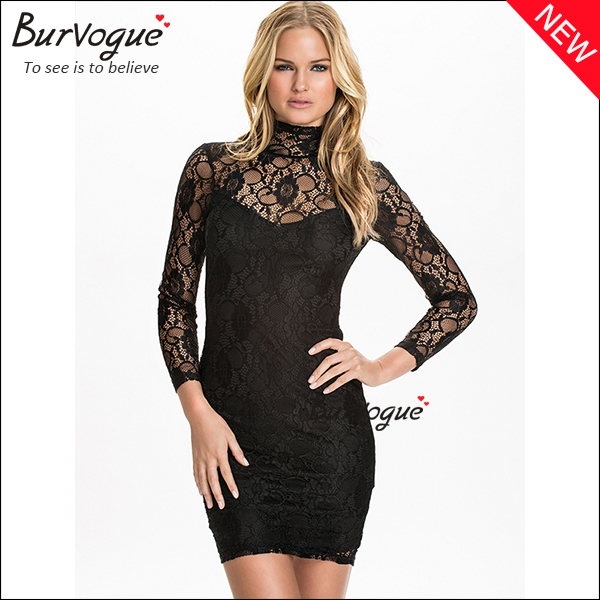 black-long-sleeve-lace-dress-v-back-sheath-high-neck -dress-15306