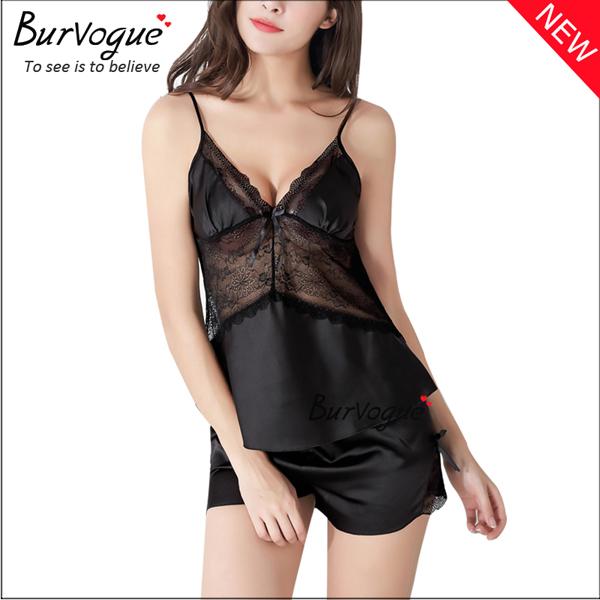black-sexy-women-silk-sleepwear-nightgown-set-babydolls-wholesale-13173