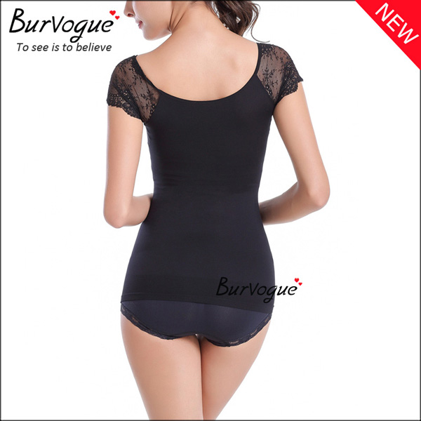 black-slimming-short-sleeve-bodysuits-lace-body-shaper-wholesale-16082