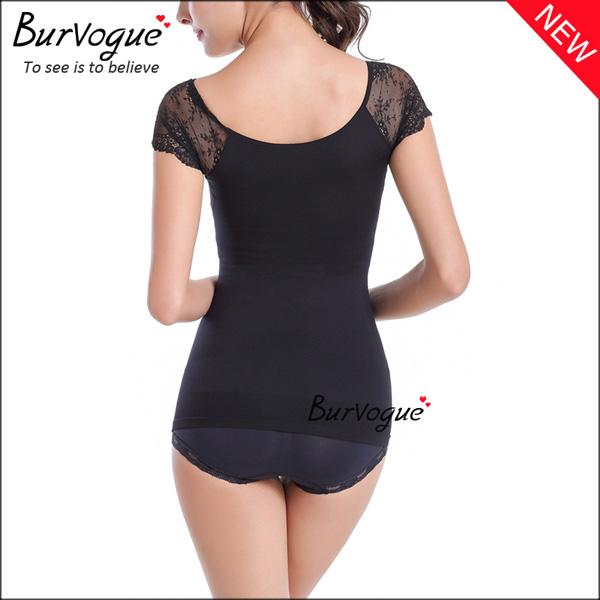 black-slimming-short-sleeve-bodysuits-lace-body-shaper-wholesale-16082