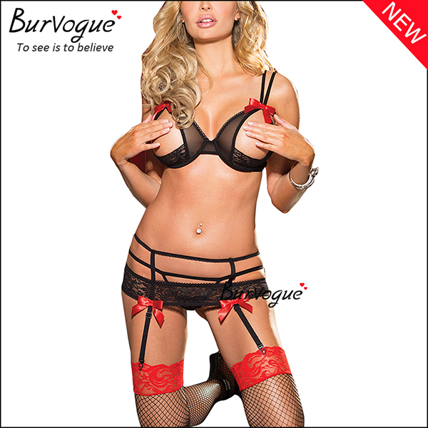 black-strapped-open-cups-lace-bra-sets-lingerie-and-thong-13156