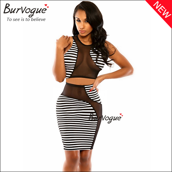black & white club wear sexy cut out mesh warp dress-15318