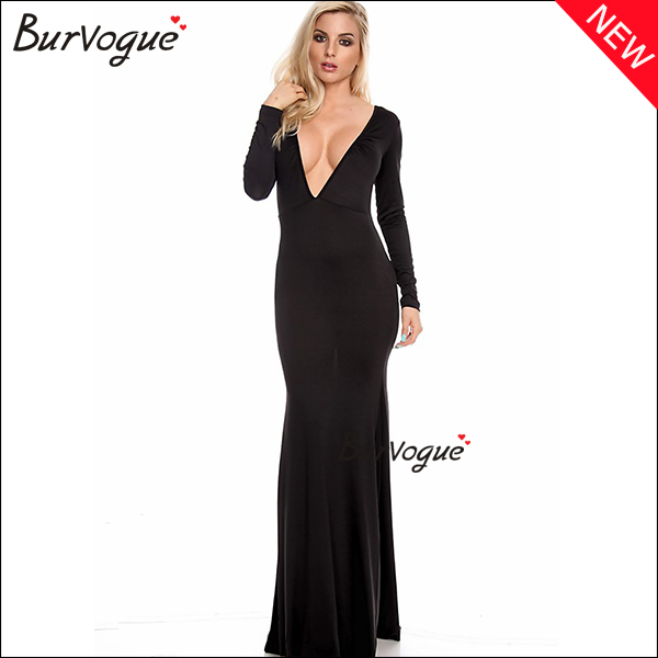 black elegant floor length maxi dress deep-V warp dress wholesale-15426