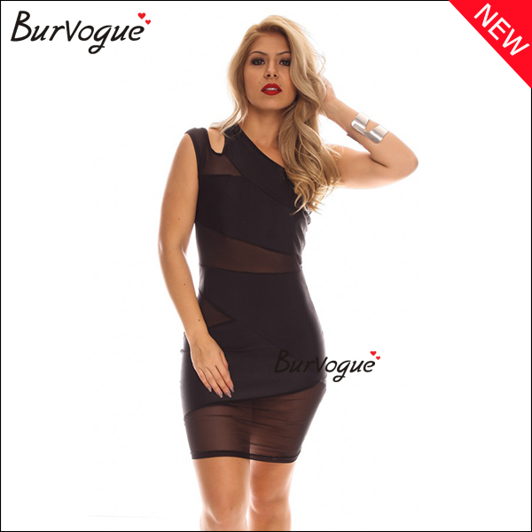 black sexy mesh bodycon dress one shoulder wrap dress wholesale-15451