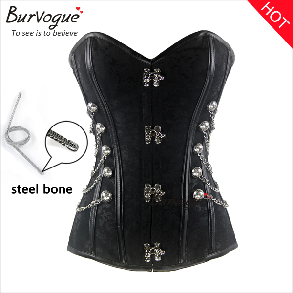 black steel boned bustier