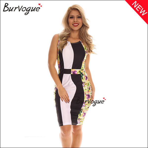 black & white color block bodycon dress wrap dress wholesale-15473
