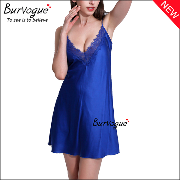 blue-sexy-deep-v-neck-babydolls-silk-sleevless-lingerie-wholesale-13169