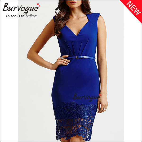 blue v-neck knee-length party dress with lace-15285
