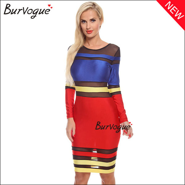 long sleeve color block bodycon dress sexy see though mesh prom dress wholesale-15507