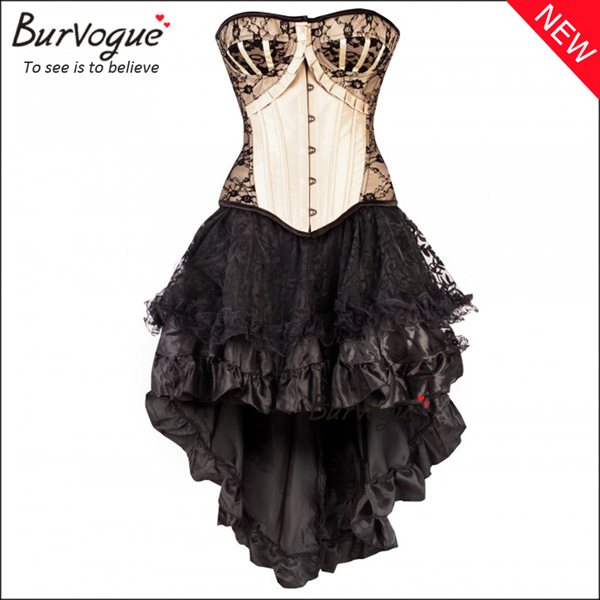 chic-satin-ruffle-cheap-bustier-lace-corset-dress-wholesale-p-20002
