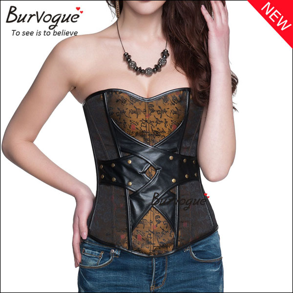 china-style-jacquard-bustier-leather-corset-tops-with-zipper-21318