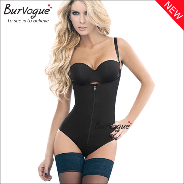 clips-and-zip-black-latex-bodysuit-tummy-control-body-shaper-16067