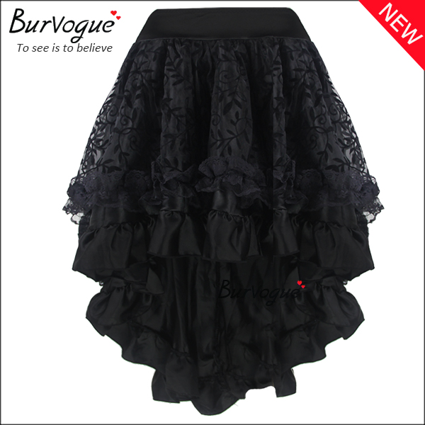 elegant-black-middle-skirt-satin-corset-tutu-dress-wholesale-32036
