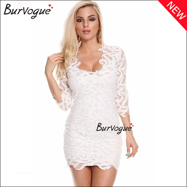 elegant white lace bodycon dress long sleeve wrap dress prom dress wholesale-15446