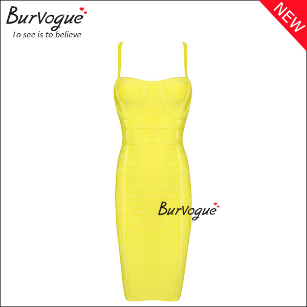 fashion-yellow-bandage-dress-sheath-bodycon-dress-wholesale-15657