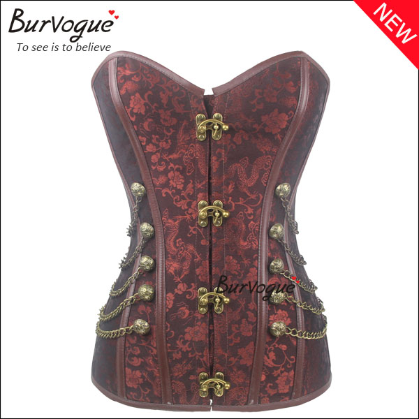 fashion deep brown steel bone overbust steampunk corset top-23042
