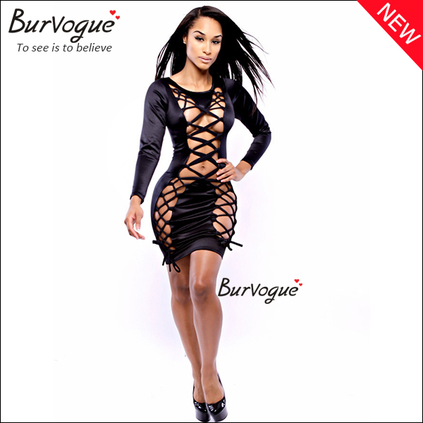 fashion front lace up bodycon dress sexy cut out wrap dress-15316