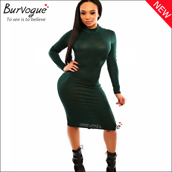 fashion high neck long sleeve bodycon dress green wrap dress wholesale-15327