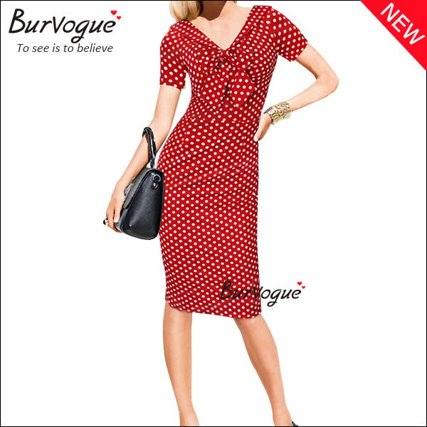 fashion ladies polka dot dress bowknot front sheath dress--15595