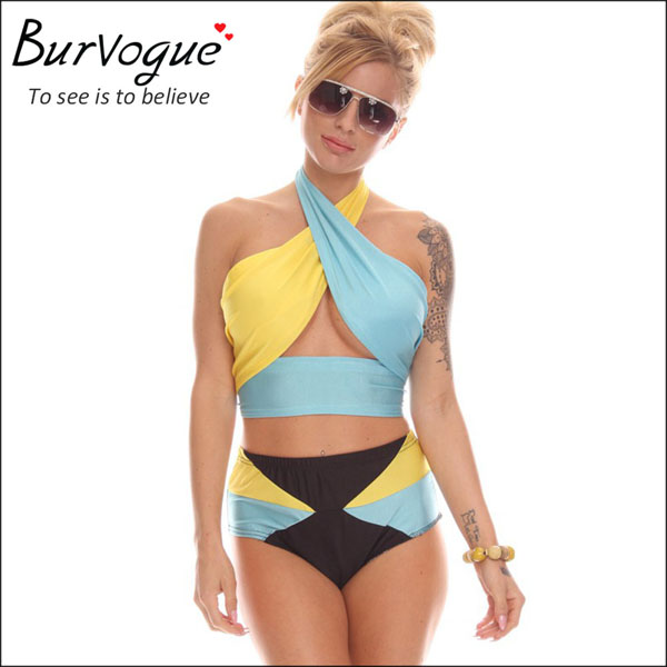 fashion lady high cut swimsuit bandage color block swimwear-78023