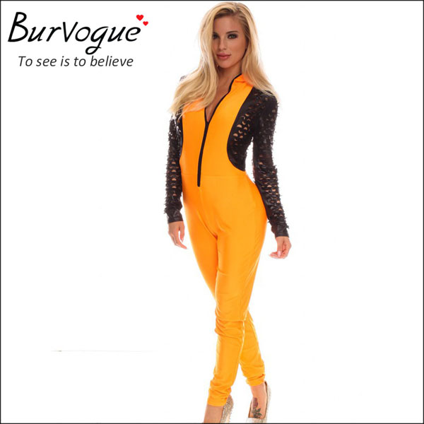 fashion yellow cut out jumpsuit deep v long sleeve clubsuit-15554