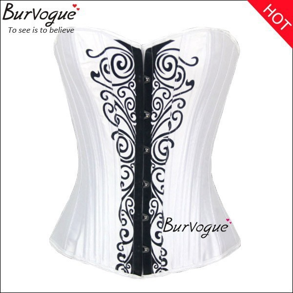 white-satin-push-up-corset-printing-bustier-for-women-21290