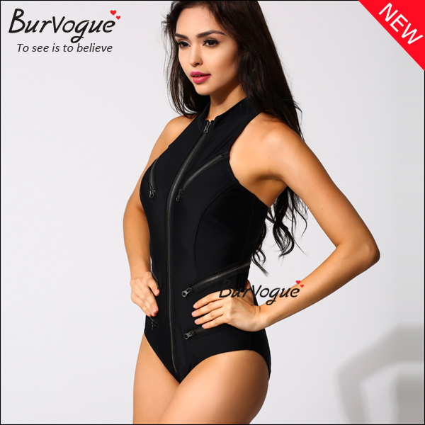 front-zip-high-neck-tankini