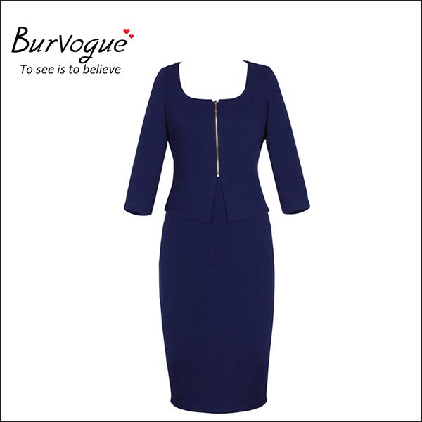 front-zipper-ladies-long-sleeve-bodycon-formal-work-dress-15584