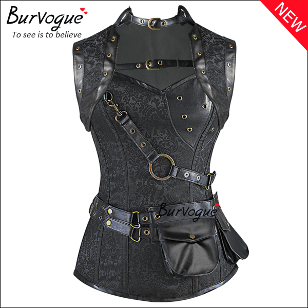 gothic-black-steampunk-corset-zip-12-steel-boned-bustier-tops-23081