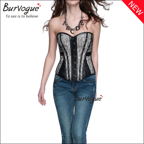 gothic-lace-leather-overbust-corset-bustier-tops-wholesale-21320