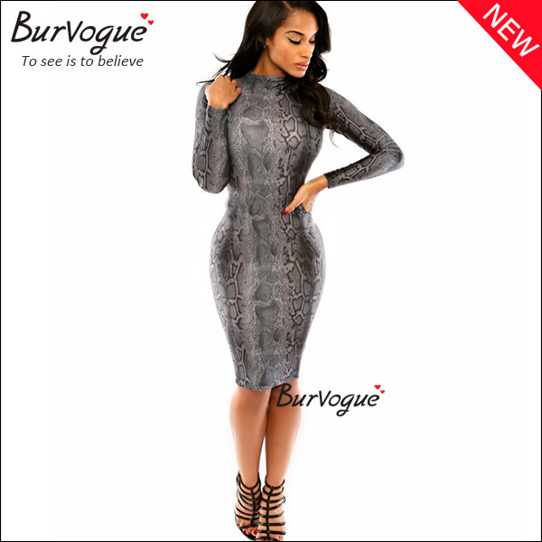 gray leopard long sleeve wrap dress fashion bodycon wholesae-15338