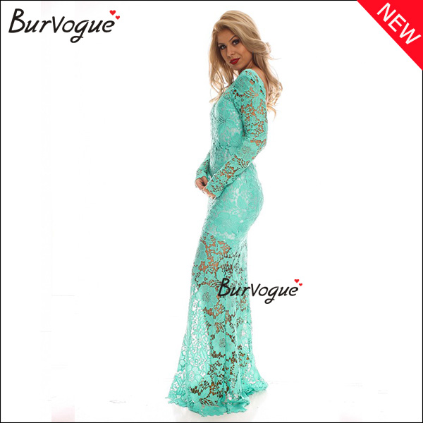 green-lace-floral-sheer-lingerie-backless-long-sleeve-dress-15440