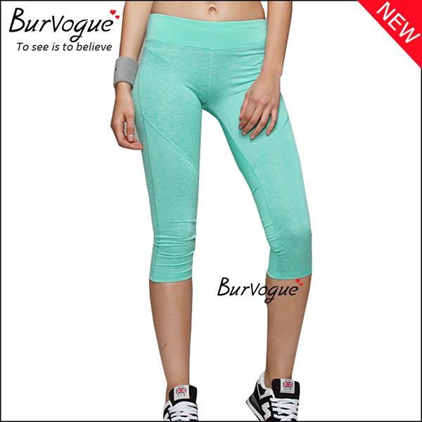 green-womens-foldover-mid-waist-yoga-sports-leggings-wholesale-80084
