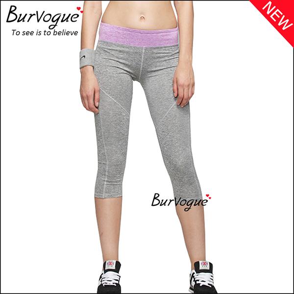 grey-foldover-mid-waist-yoga-sports-leggings-wholesale-80084