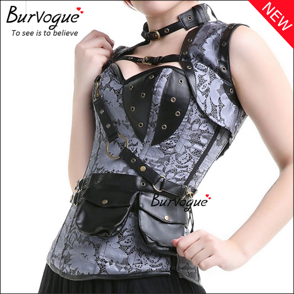 grey-steampunk-corset-zip-12-steel-boned-bustier-tops-23081