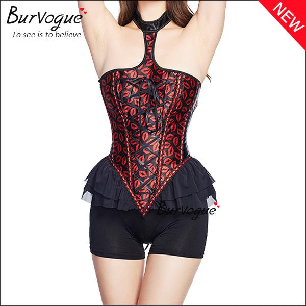 halter-ruffle-satin-overbust-corset-tops-with-lips-pattern-21325
