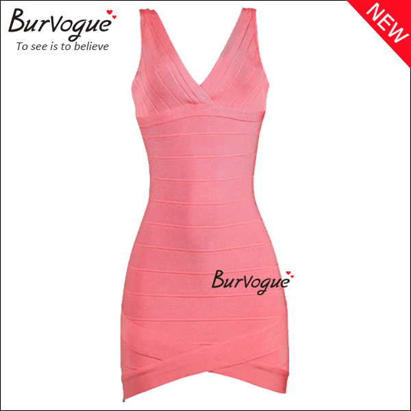 high-quality-deep-v-neck-bodycon-dress-pink-bandage-dress-15634