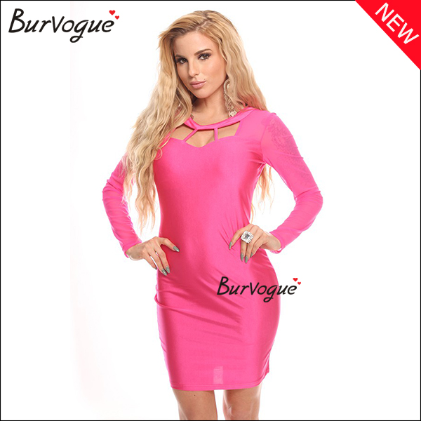 hot-pink-hollow-front-sheath-long-sleeve-dress-for-women-15489