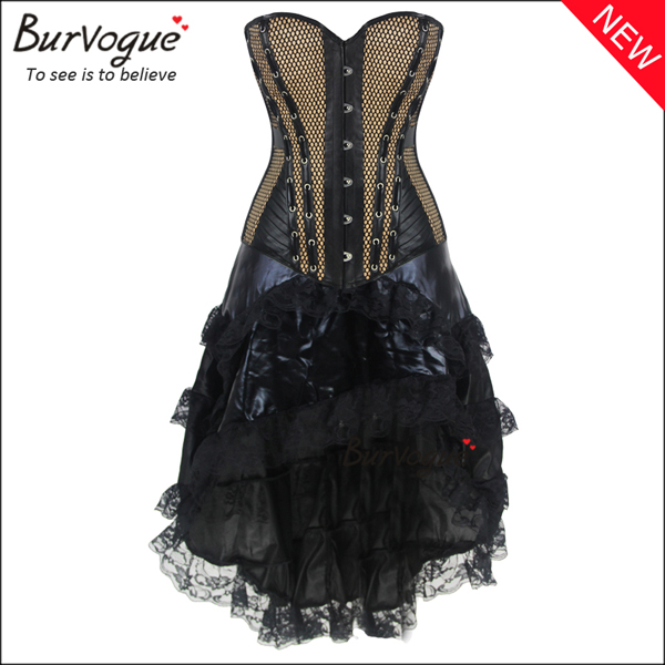 khaki-satin-overbust-corset-dress-middle-skirt-wholesale-p-20007