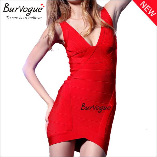 ladies-deep-v-bandage-dress-sheath-party-dress-wholesale-15629