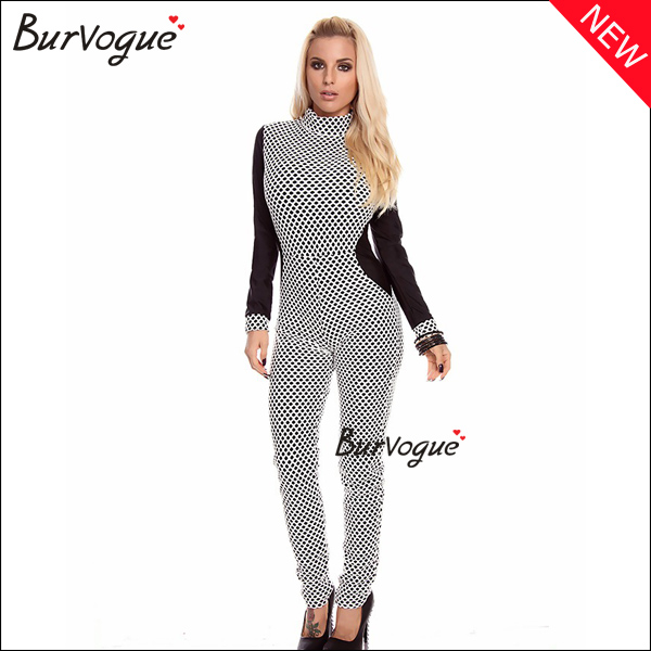 ladies polka dot jumpsuit long sleeve high neck partysuit-15530